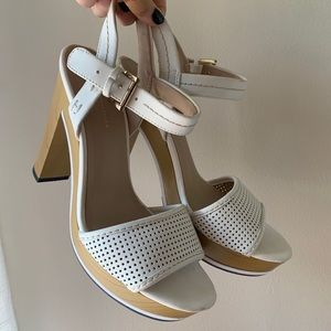Tommy Hilfiger White and Wooden Heels